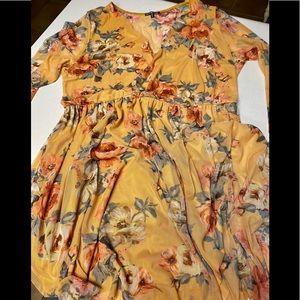 Charlotte Russe - mustard floral dress